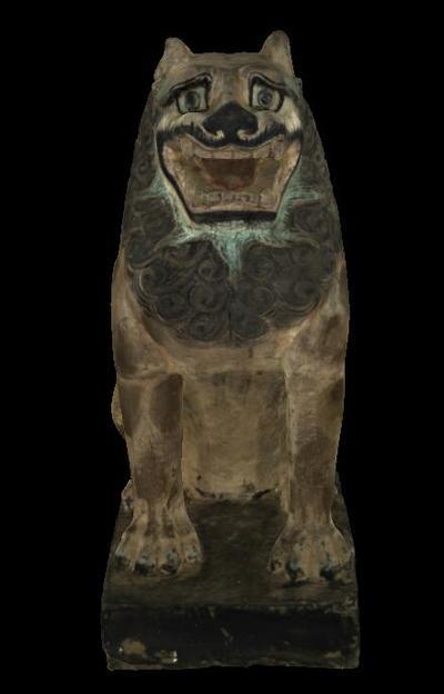 唐彩绘石雕狮子