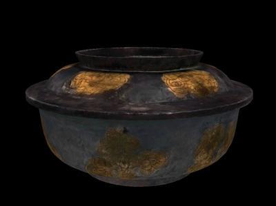 鎏金折枝花纹银盖碗