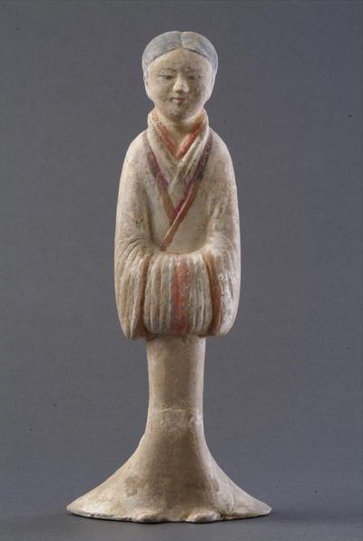西汉塑衣式彩绘女俑