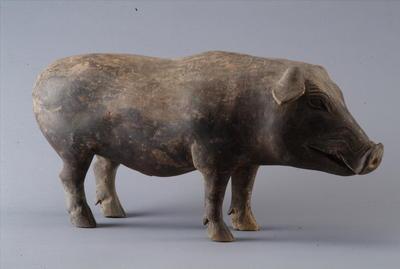 西汉彩绘陶公猪