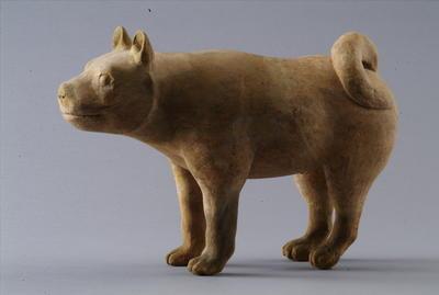 西汉彩绘陶家犬