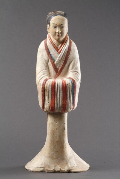 西汉塑衣式彩绘侍女俑