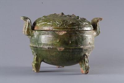 西汉带盖绿釉陶鼎