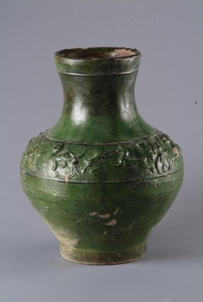 西汉绿釉陶壶