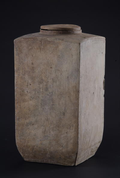 西汉带盖方形灰陶仓