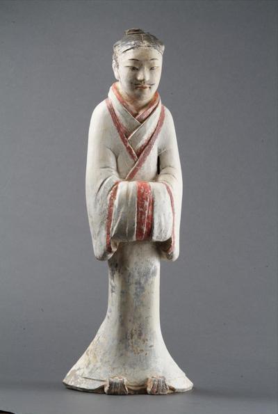 西汉衣式彩绘男立俑