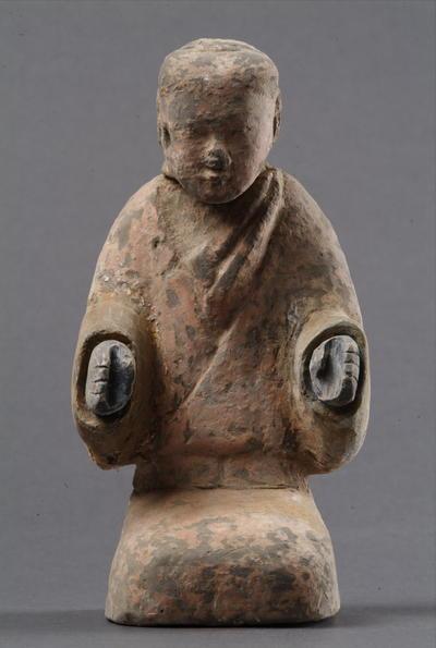 西汉塑衣式彩绘跽坐俑